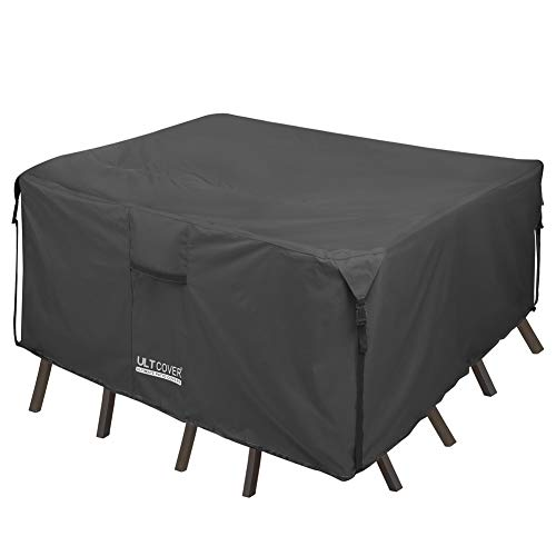 ULTCOVER 600D Tough Canvas Durable Square Patio Table and Chairs Cover - Waterproof Outdoor General Purpose Furniture Covers 94 inch, Black