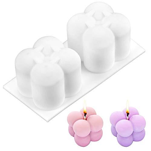 Kerzengießform, 3D Ball Cube Mold, Kerzen Silikonform, Mold Kunststoff für Handwerk Ornamente Kerzen Seifen Süßigkeiten Die Herstellung Von Pralinen Hausgemachte Geschenk Party, Kerzenform zum Gießen