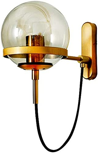 Waqihreu Lámpara de Pared Minimalista Moderna nórdica, con Pantalla Redonda de Vidrio Transparente, Utilizada en ático, Cocina, Comedor, iluminación Decorativa, lámpara de Noche para Dormitorio