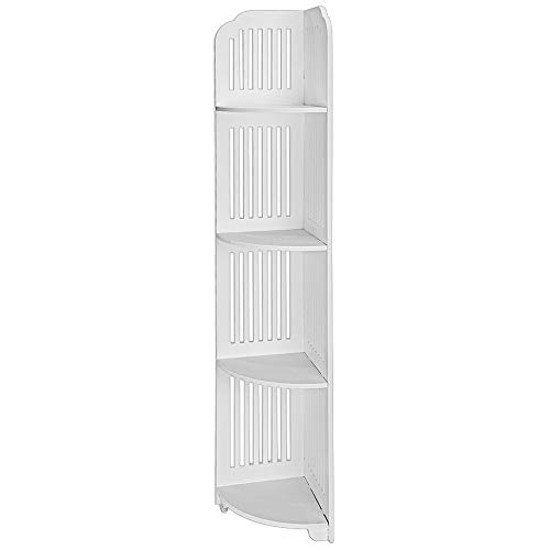 JAWM 4-Tier Waterproof Bathroom Corner Storage Unit Shelf Wood Plastic Composite Corner Shelf Bedroom Livingroom Display Free Standing Rack White