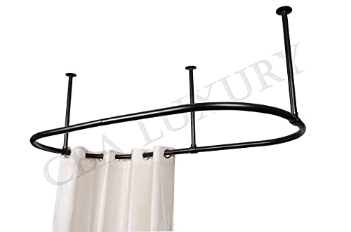 Stainless Steel Oval Shower Curtain Rod By CBA with Ceiling Support Oval Shower Curtain Rod For Clawfoot Tub Freestanding Oval Shower Curtain Rod Black Finish Size 60X30 Inch