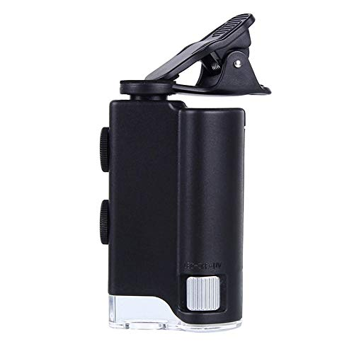 Digital Microscope 60X-100X Mobile Phone Microscope with Universal Cell Phone Clip Pocket Magnifying Glass Led Uv Light