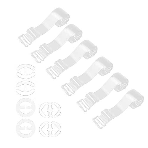 3 Paar unsichtbare transparente, rutschfeste, verstellbare elastische Damenunterwäsche-BH-Ersatzträger 12 mm/18 mm, mit 6 BH-Clips mit gekreuztem Rücken.