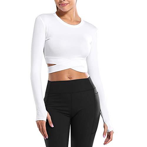 laamei Camiseta deportiva de manga larga para mujer, transpirable, cómoda, sin costuras, para deporte, yoga, fitness, entrenamiento A blanco. M
