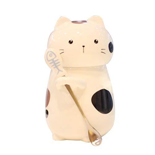 DOITOOL - Taza de cerámica con cuchara y tapa, diseño de gato en 3D