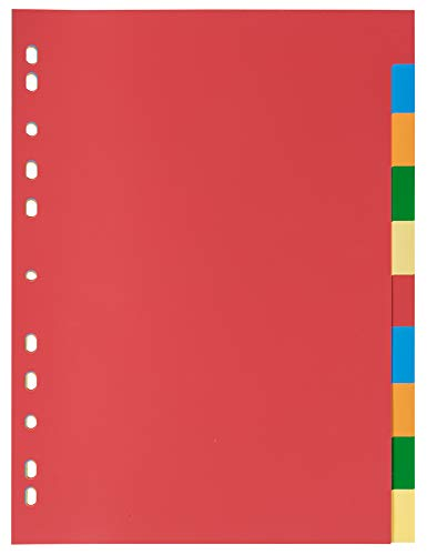 Idena 300230 - Register 10-teilig, für DIN A4, aus Kunststoff, volldeckend, bunt, 1 Stück