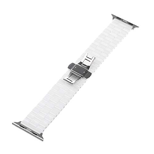 WNFYES Keramische Horlogeband Voor del Reloj 38mm 42mm Reloj Inteligente Acoplamiento De La Venda De La Correa del Brazal Keramische Enlaces Horlogeband Relojes Correas (Color : White, Size : 38mm)