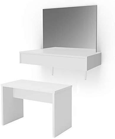 Vicco Schminktisch Alessia Weiß wandhängend mit Bank - Frisiertisch Kommode Spiegel +++ Schminkkommode mit großen Schubfächer und riesigen Spiegel +++ (mit Bank)