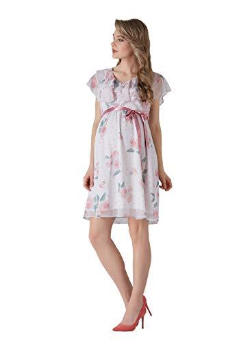 M.M.C. Rose Umstands-Kleid mit Volant und Rosen-Design - Chiffon Damen Abendkleid Cocktail-Schwangerschaftskleid – Freizeit Partykleid V-Ausschnitt Knielang Ärmellos (Rosen, 40)