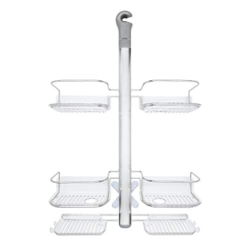 OXO Good Grips Stainless Steel Shower Caddy with Hose Keeper for Handheld Shower Heads