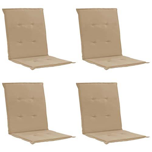 Festnight Cojines para Sillas de Jardín 4 Unidades Cojín para sillas de balcón o Asiento Exterior con Respaldo Beige 100x50x3 cm
