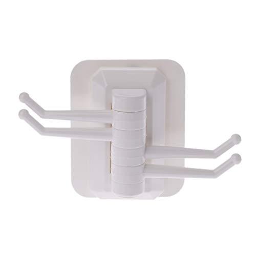 Baiyaoi Potente Ventosa giratoria Gancho Organizador 4 Ganchos Montaje en Pared Soporte de Almacenamiento toallero Percha Cocina baño