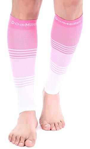Doc Miller Calf Compression Sleeve - Dress Series 1 Pair 20-30 mmHg Fashionable Medical Grade Socks for Travel for Men & Women (Pink.Pink.White, M)