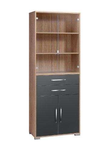 MAJA-Möbel 1234 2574 Aktenregal mit Glastüren, Schubladen und Türen, Sonoma-Eiche-Nachbildung - grau Hochglanz, Abmessungen BxHxT: 80 x 214,5 x 40 cm
