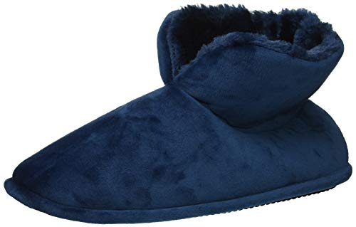 Dearfoams Women's Sara Velour Bootie Slipper, Tide Blue, Medium