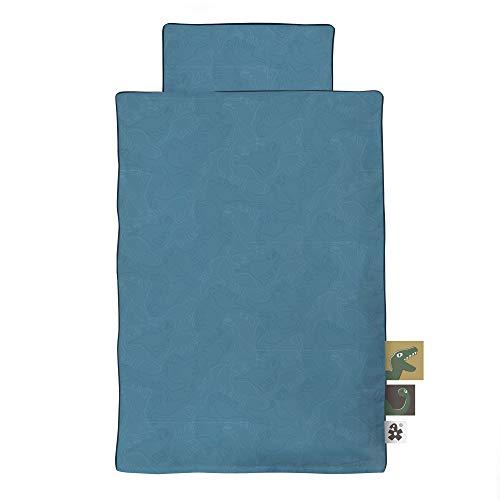 Sebra Bettwäsche Bettbezug Bezug für Kinderbett in blau mit Dino Motiv