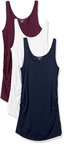 Amazon Essentials 3-Pack Rouched Fashion-Maternity-Tank-top-and-cami-Shirts, Burgunderrot/Marineblau/Weiß, XXL