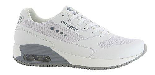Oxypas Sport, Berufsschuh Justin, antistatischer (ESD) Leder Sneaker für Herren (46, weiß - hellgrau)