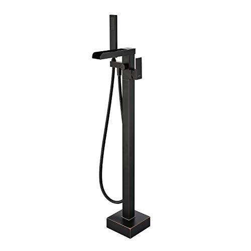 Buy Wowkk Freestanding Bathtub Faucet Tub Filler Waterfall Single Handle Oil Rubbed Bronze Floor Mou...