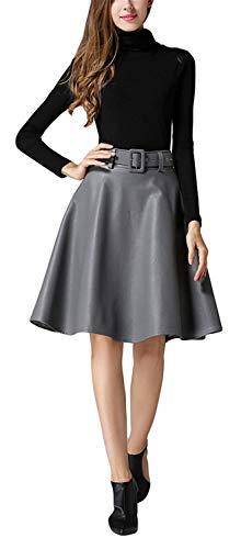 Dames mannen Dchen vrouwen lente Hling herfst klassieker Faux PU Fashionable leer hoge taille plooien A lijn rok plooien rok bord rok minirok met