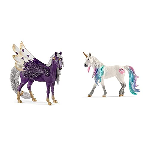 Schleich bayala Animal Figurine, Unicorn Toys for Girls and Boys 5-12 Years Old, Sea Unicorn Mare & bayala Sparkle Star Purple Pegasus Mare Toy for Kids Ages 5-12