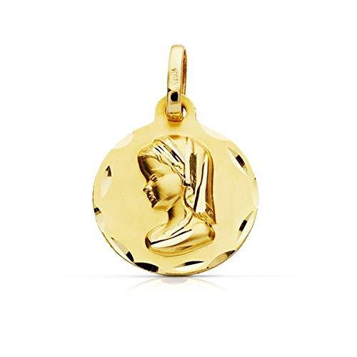 Medalla Oro 9K Virgen Niña 18mm. Redonda Lisa Borde Tallado - Personalizable - Grabación Incluida En El Precio