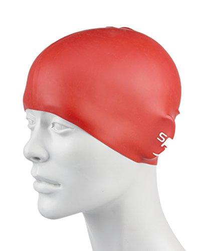 Speedo Bonnet de Bain en Silicone moulé Unisex-Youth, Rouge, Taille Unique