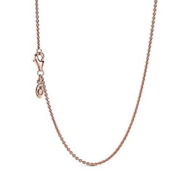 Pandora Jewelry Classic Cable Chain Pandora Rose with Sterling Silver Necklace