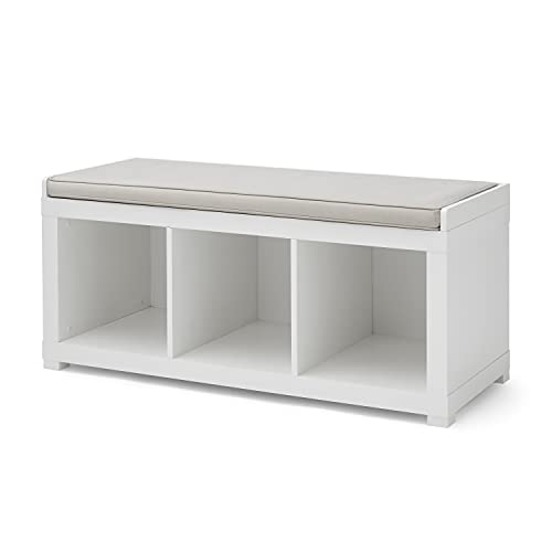 The Better Homes and Gardens 3 Cube Storage Bench (White) (White)