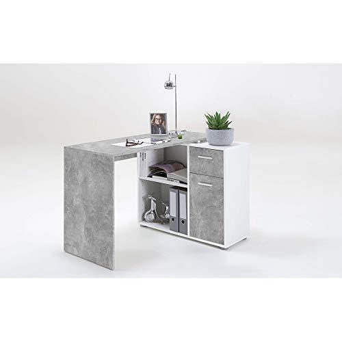 FMD 360-001 Albrecht Beton grau/Weiß Schreibtisch PC Tisch Bürotisch Arbeitstisch