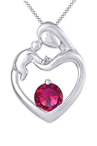 AFFY Mother's Day Jewelry Gifts Mother Child Heart Love Simulated Ruby Necklace in 925 Sterling Silver