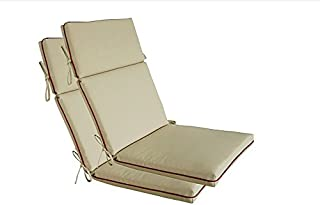 Bossima Indoor/Outdoor Light Khaki High Back Chair Cushion, Spring/Summer Seasonal Replacement Cushions.Set of 2