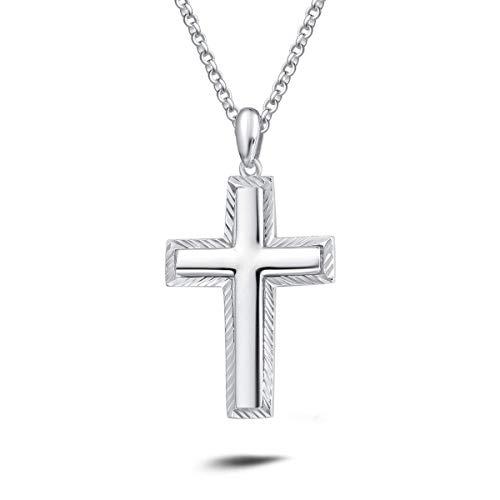 Collar con Colgante de Cruz para Hombre de Plata de Ley 925 - Longitud Cadena: 51 cm