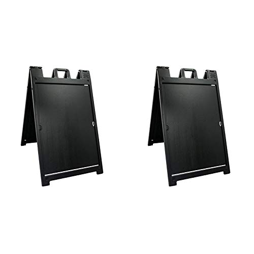 Plasticade Deluxe Signicade Portable A-Frame Folding Double Sided Sign Stand, Black (2 Pack)