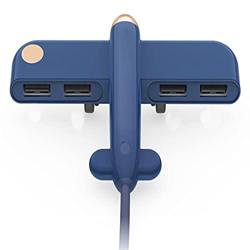 JHTD Splitter USB, HUB 2.0, Compatible con Uso, Una Línea con Cuatro Interfaces, Tamaño De Palma Pequeño Y Flexible, Carga Correcta Y Transmisión, Uso De Escritorio (Azul)
