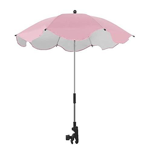 Sombrilla para cochecito de bebé, universal, con abrazadera, protección solar, paraguas universal para cochecito de bebé, sombrilla UV para cochecito (color rosa