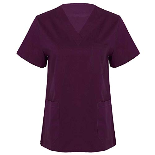 Agoky Damen Herren Schlupfkasack Kasack V-Ausschnitt Kurzarm Schlupfhemd für Medizin und Pflege OP-Kleidung versch. Farben S-XXL Violett A S