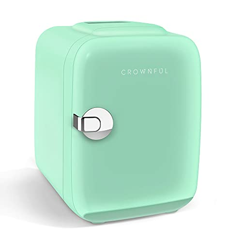 CROWNFUL Mini Fridge, 4 Liter/6 Can Portable Cooler and Warmer Personal Refrigerator for Skin Care, Cosmetics, Beverage, Food,Great for Bedroom, Office, Car, Dorm, ETL Listed (Green)