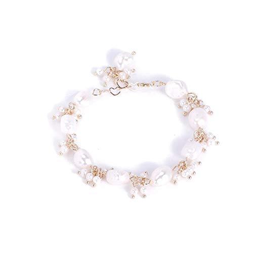 yichengshangmao Pulsera de Perlas de Agua Dulce Anillo de Mano de Mujer Retro