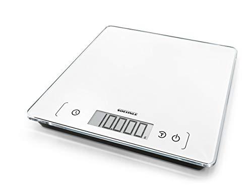 Soehnle Page Comfort 400, digitale Küchenwaage, weiß, Gewicht bis zu 10 kg (1-g-genau), runde Haushaltswaage mit Sensor-Touch, elektronische Waage inkl. Batterien, extragroße Wiegefläche