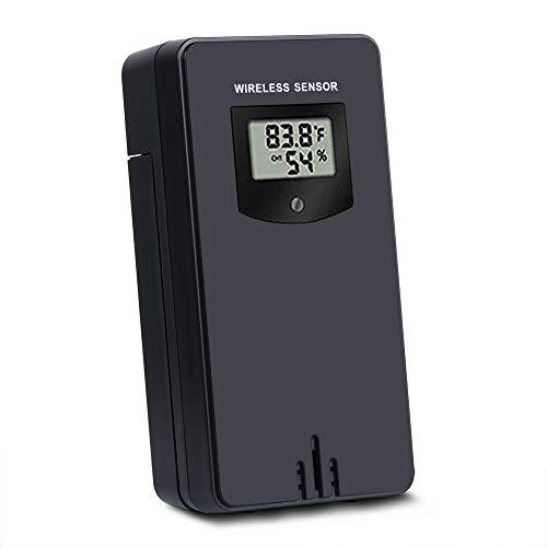Kalawen Wireless Outdoor Sensor Weiß Wireless Temperatur und Hygrometer Außensensor Wetterstation Sender 3 Kanal für Wetterstation und Projektionswecker, Schwarz