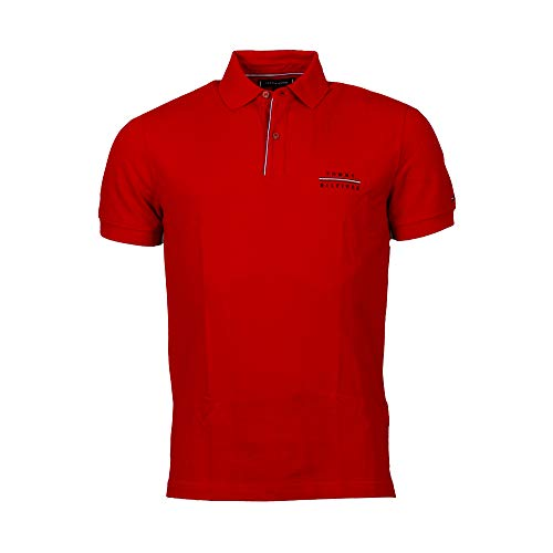 Tommy Hilfiger Logo Embroidery Regular Polo, Rojo (Red XLG), Large para Hombre