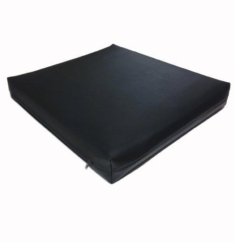 Dibapur ® Rollstuhlkissen ca.45cm x 40cm x 5cm Chefsessel Schwarzen Kunstleder Bezug (Flamm hemmend) Visco Sitzkissen - Viscoelastische, Antidekubitus,Sitzkissen