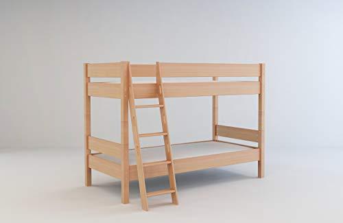 Mobi Furniture Etagenbett 90x200 + Lattenrost Massivholz Buche Hochbett Kinderzimmer Bett Natur