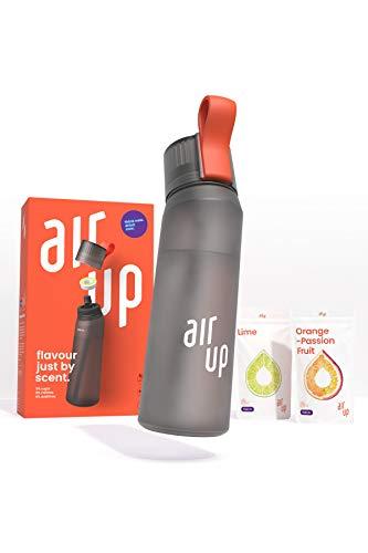 air up® Starter Set - 1 x Bouteille d'eau sans BPA 650 ml, 2 x Pods Arôme Citron Vert et Orange-Fruit de la passion - pour aromatiser l'eau, 0 Sucre, 0 Calorie – Noir