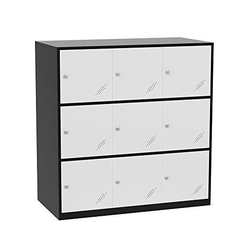 Bonnlo Metal Office Locker Storage Cabinet for Break Room Steel Kids Organizer with 9 Doors & Keys