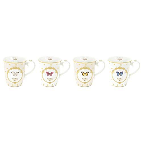 JD Diffusion 1103DOB Elegance Papillons Coffret de 4 Mugs Multicolore