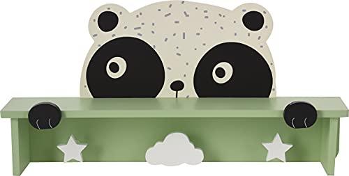 Perchero de pared + estante 2 en 1 de madera, perchero de habitación infantil, diseño de panda