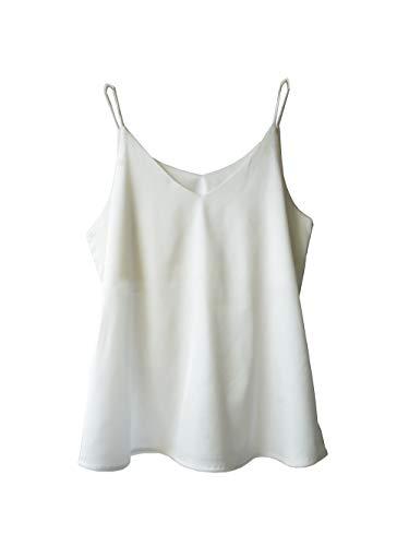 Wantschun Damen Unterhemd, Seide, Satin, V-Ausschnitt, Spaghettiträger, XXS-4XL Gr. M, weiß