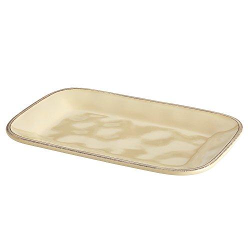 Rachael Ray Cucina Dinnerware 8-Inch x 12-Inch Stoneware Rectangular Platter, Almond Cream